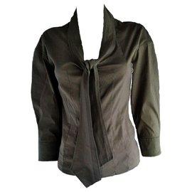 Yves Saint Laurent-Yves Saint Laurent Khaki Blouse Shirt-Khaki