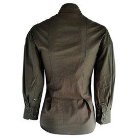 Yves Saint Laurent-Yves Saint Laurent Khaki Blusenhemd-Khaki