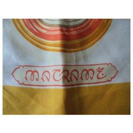 Hermès-HERMES RARE VINTAGE SILK SQUARE-Orange,Eggshell,Coral