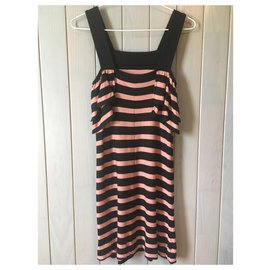 Sonia Rykiel-Sonia Rykiel black and pink / brown striped dress-Black,Pink,Light brown