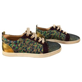 Christian Louboutin-Sneakers-Blue,Golden,Green,Dark red