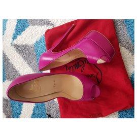 Christian Louboutin-Lady peep-Dark red,Purple