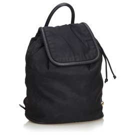Céline-Celine Black Nylon Drawstring Backpack-Black