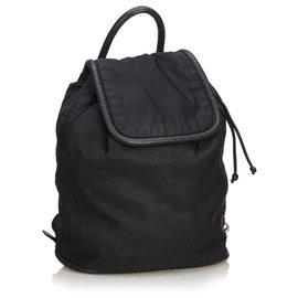 Céline-Sac à dos en nylon noir avec cordon de Céline-Noir