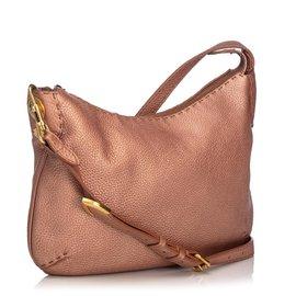 Fendi-Fendi Pink Seleria Leather Shoulder Bag-Pink