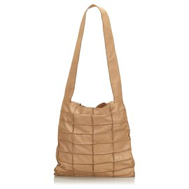 Chanel-Chanel Brown Leather Patchwork Tote Bag-Brown,Beige