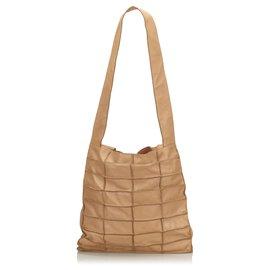 Chanel-Sac cabas à patchwork en cuir marron Chanel-Marron,Beige