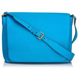 Burberry-Burberry Blue Leather Burleigh Crossbody-Blue