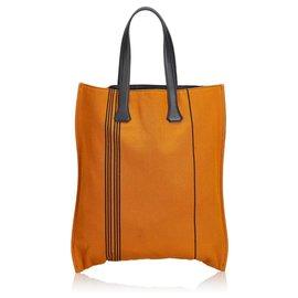Hermès-Hermes Brown Canvas Tote Bag-Brown,Black