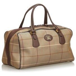 Burberry-Burberry Brown Plaid Canvas Travel Bag-Brown,Multiple colors,Khaki