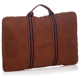 Hermès-Hermes Brown Fourre Tout Briefcase-Brown,Blue,Navy blue