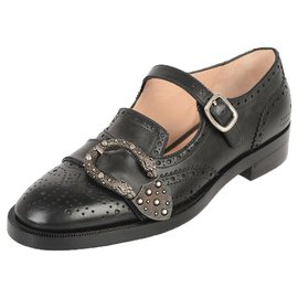 Gucci-GUCCI LEATHER LOAFERS NEW 100%-Noir