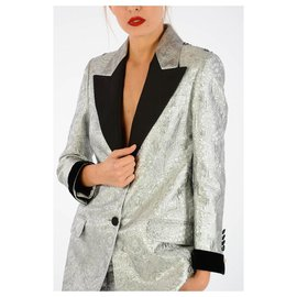 Gucci-GUCCI BROCADE FABRIC BLAZER NEW-Noir,Gris