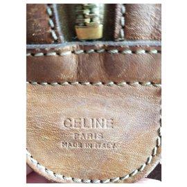 Céline-Celine Boston Tan Brown 48HR Weekend/Travel Bag with inner pouch.-Light brown,Dark brown