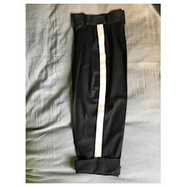 Dolce & Gabbana-Pantalons, leggings-Noir,Blanc cassé