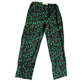 Marni-Pantalons, leggings-Noir,Vert foncé