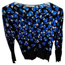 Autre Marque-Joli pull col V imprimé laine et cachemire-Bleu foncé
