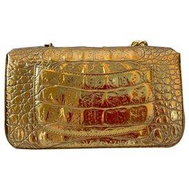 Chanel-Runway Metallic Gold Crocodile Embossed Mini Flap Bag-Golden