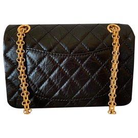 Chanel-nero 2.55 Réédition du sac à rabat simple matelassé-Noir