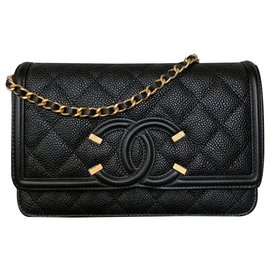 Chanel-Black Filigree Caviar WOC-Black