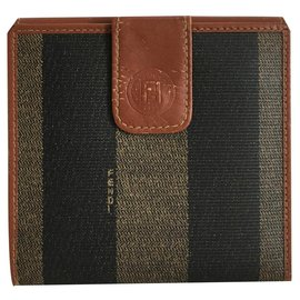 Fendi-Fendi Pequin Stripe Wallet-Light brown,Dark brown