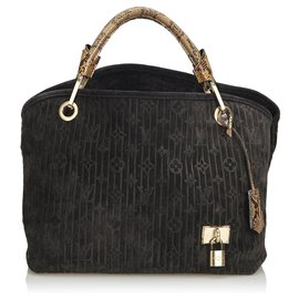 Louis Vuitton-Louis Vuitton Black Suede Whisper PM-Marron,Noir