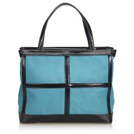 Yves Saint Laurent-Sac cabas en nylon bleu YSL-Noir,Bleu,Bleu clair