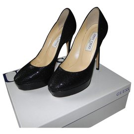Jimmy Choo-Escarpins Cosmis Kid JIMMY CHOO noir pailleté-Noir