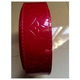 Louis Vuitton-Ceinture cuir vernis rouge-Rouge