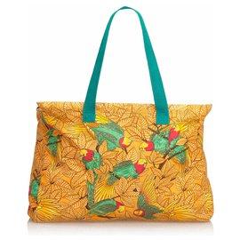 Hermès-Sac cabas en toile orange Hermès-Multicolore,Orange