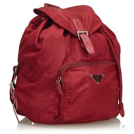 Prada-Sac à dos à cordon Prada en nylon rouge-Rouge