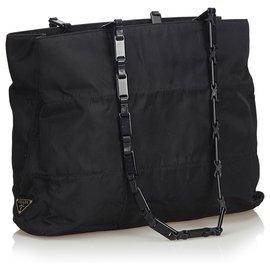 Prada-Prada Sac cabas en nylon noir-Noir
