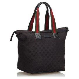 Gucci-Sac cabas en toile noir GG de Gucci-Noir,Multicolore