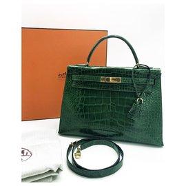 Hermès-Beau sac Hermes Kelly 32 cuir alligator vert émeraude-Vert