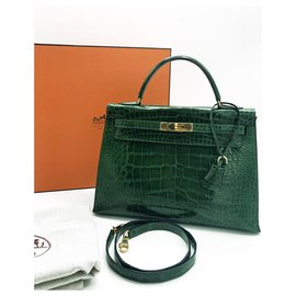 Hermès-Beautiful Hermes Kelly bag 32 leather Emerald Green alligator-Green