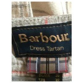 Barbour-Short en lin tartan-Beige,Kaki