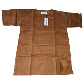 Autre Marque-New Men's Tunic Studies Oversize linen M-Brown