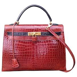 Hermès-Sac à main Hermès Kelly 32 Sellier Vintage Bicolore Etrusque et Noir crocodile-Marron clair