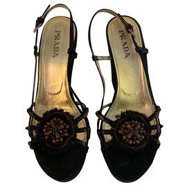 Prada-Sandales compensées en satin noir-Noir