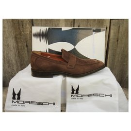 Autre Marque-Moreschi suede moccasis-Light brown