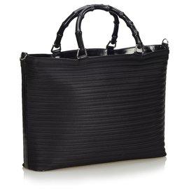 Gucci-Sac cabas en nylon bambou noir Gucci-Noir