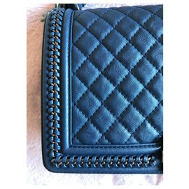 Chanel-Chanel Boy with handle-Navy blue