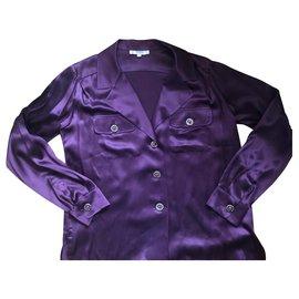 Yves Saint Laurent-Chemise soie violette Yves Saint Laurent Rive Gauche-Doré,Violet