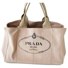 Prada-Prada - Sac cabas en toile beige avec logo Canapa-Beige