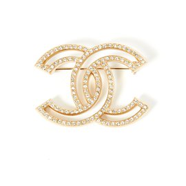 Chanel-LARGE GOLDEN CC RHINESTONE-Doré