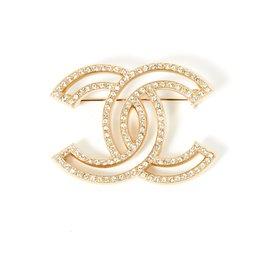 Chanel-LARGE GOLDEN CC RHINESTONE-Golden