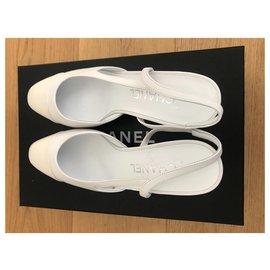 Chanel-Chanel Slingback-White,Cream