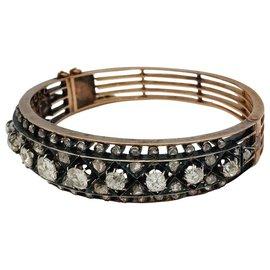 inconnue-Bracelet Napoléon III, or, argent et diamants.-Autre