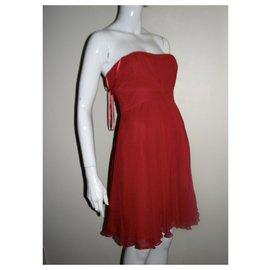 Bcbg Max Azria-Robe corset en soie Duran Ruby Red-Rouge