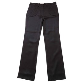 Chanel-CHANEL TROUSERS 100% soie-Black